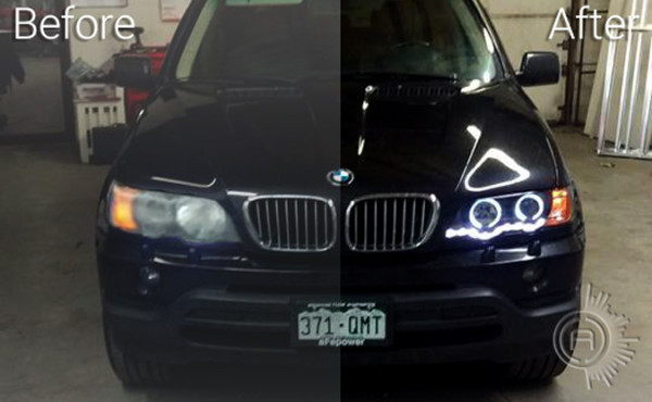 AC Customs BMW X5 Headlight Upgrade before and after